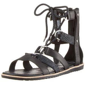 New Sorel Ella Gladiator Lace Up Sandal Black